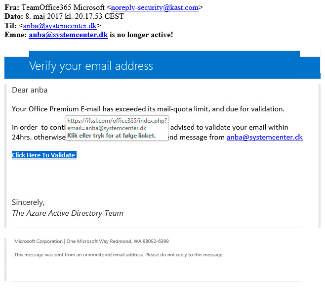 Falsk mail Microsoft Office 365 email