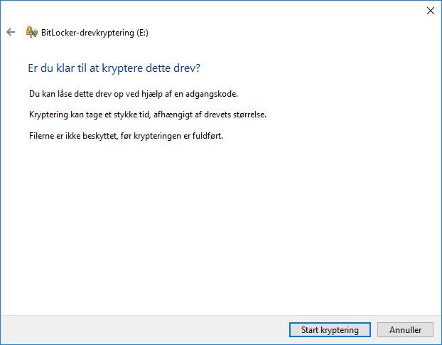 Krypter USB Drev Nøgle Start kryptering