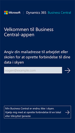 Velkommen til Business Central Appen