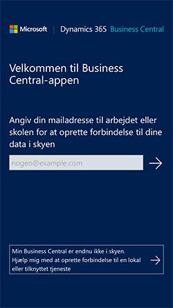 Velkommen til Business Central Appen