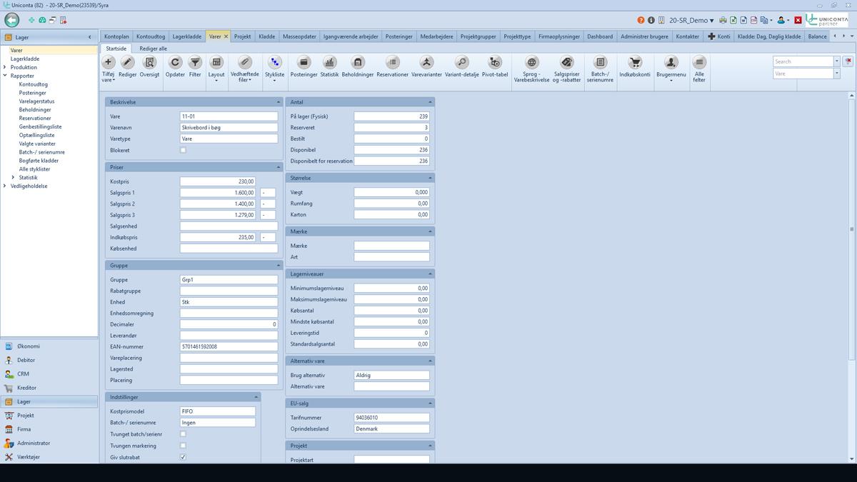 Uniconta Lager Varer Skrivebord Revisor